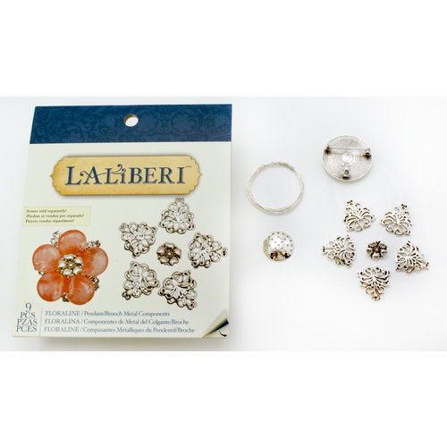 EK Success - Laliberi - Vintage Petals Collection - Jewelry Multi Component Kit - Floraline - Silver