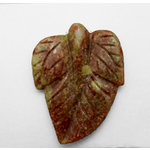 EK Success - Jolee's Jewels - Jewelry Stone Pendant - Engraved Leaf - China Unakite