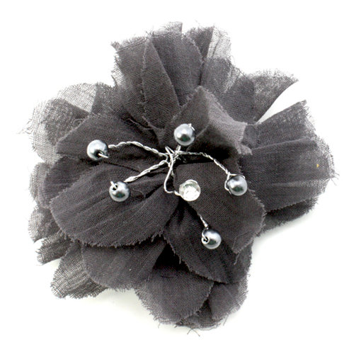 EK Success - Laliberi - Julie Comstock - Jewelry - Ready to Wear Flower - Dark Gray PomPom