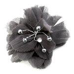EK Success - Laliberi - Julie Comstock - Jewelry - Ready to Wear Flower - Dark Gray PomPom