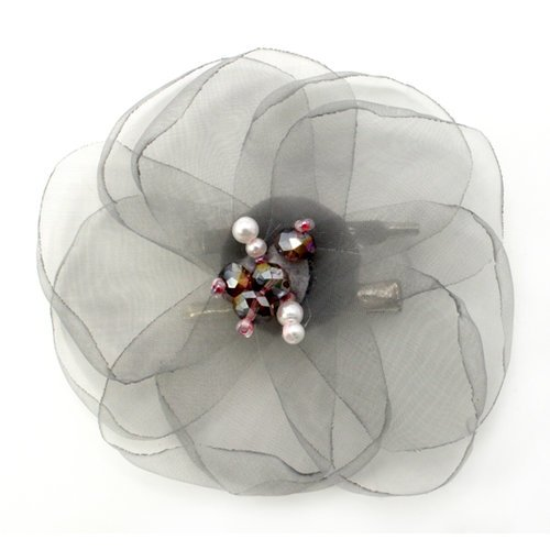 EK Success - Laliberi - Julie Comstock - Jewelry - Ready to Wear Flower - Light Gray Lotus