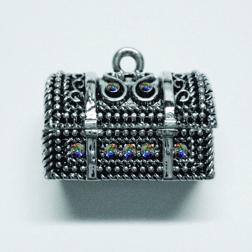 EK Success - Jolee's Jewels - Crystallized Swarovski Elements Collection - Jewelry Pendant - Treasure Chest Box - Crystal Aurora Borealis