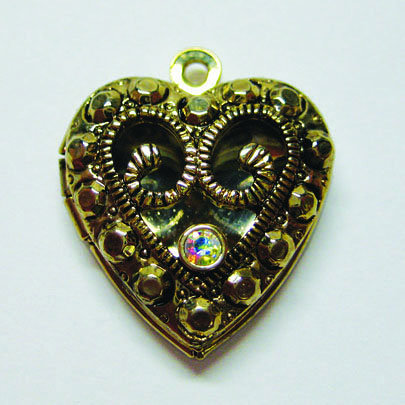 EK Success - Jolee's Jewels - Crystallized Swarovski Elements Collection - Jewelry Pendant - Antique Heart Locket - Crystal Aurora Borealis