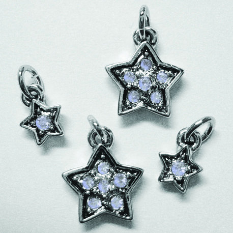 EK Success - Jolee's Jewels - Crystallized Swarovski Elements Collection - Jewelry Charms - Assorted Pave Stars - Violet