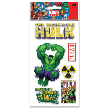 EK Success - 3-D Dimensional Stickers - Marvel Collection - Heroes - Hulk, CLEARANCE