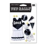 EK Success - Pep Rally Dimensional Stickers - Cheerleading - Black, CLEARANCE