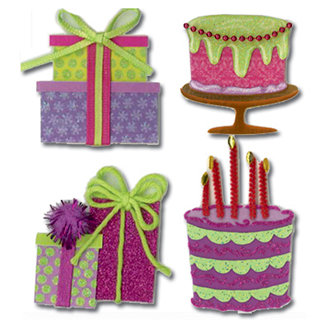 EK Success - Jolee's Boutique - 3 Dimensional Stickers - Bday Cakes and Presents