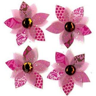 EK Success - Jolee's Boutique - 3 Dimensional Stickers - Pink Cluster Flowers