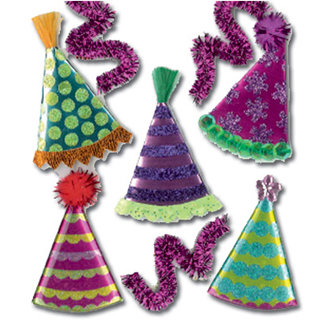EK Success - Jolee's Boutique - 3 Dimensional Stickers - Party Hats, BRAND NEW