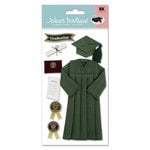 EK Success - Jolee's Boutique Le Grande  Dimensional Stickers - Graduation Collection - Cap and Gown - Green