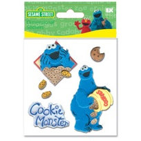 EK Success - Sesame Street - Dimensional Stickers - Cookie Monster, CLEARANCE