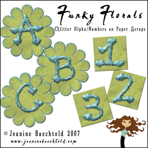 Digital Element Pack - Funky Florals - Alphabet