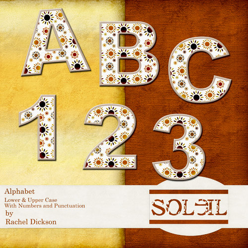 Digital Element Kit -  Soleil - Alphabet