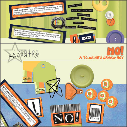 E-Kit Elements (Digital Scrapbooking) - No! A Toddlers Creed: Boy 2