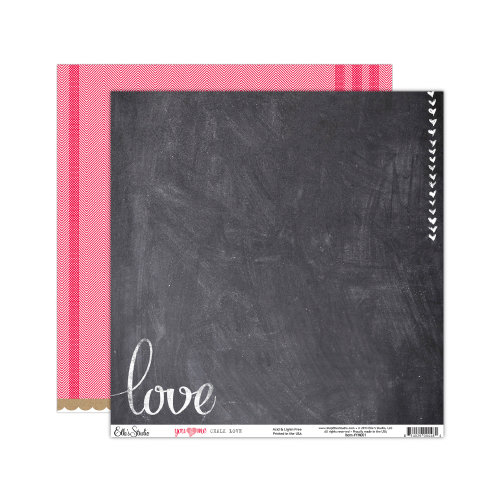 Elle's Studio - You and Me Collection - 12 x 12 Double Sided Paper - Chalk Love