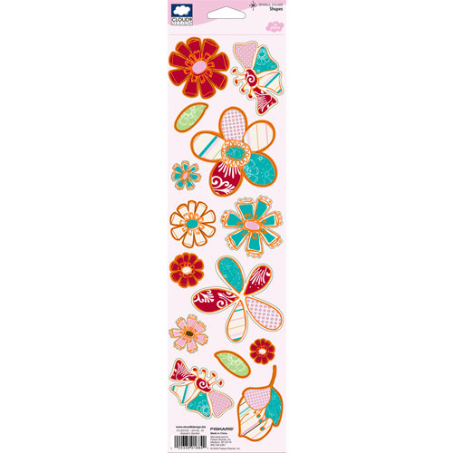 Fiskars - Cloud 9 Design - Alyssa's Garden Collection - Glitter Cardstock Stickers - Shapes, CLEARANCE