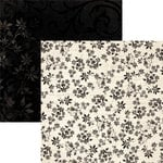Fiskars - Kimberly Poloson - Letters Home Collection - 12 x 12 Double Sided Paper - Small Black Blooms
