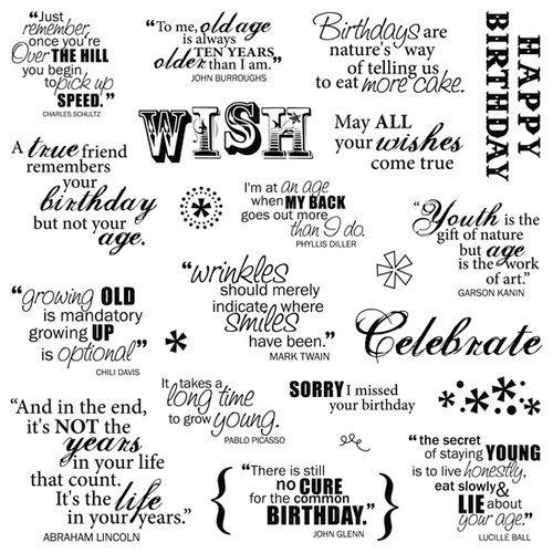 Fiskars - Clear Acrylic Stamps - 8 x 8 - Make A Wish Quotes