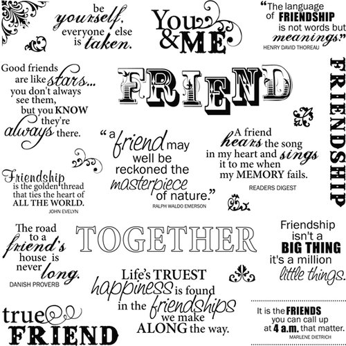 Fiskars - Clear Acrylic Stamps - 8 x 8 - Friends Forever Quotes