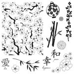 Fiskars - Clear Acrylic Stamps - 8 x 8 - Asian Inspired