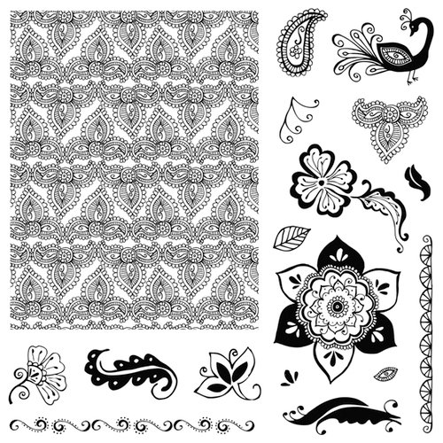 Fiskars - Clear Acrylic Stamps - 8 x 8 - Henna Petals, CLEARANCE