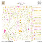Fiskars - Heidi Grace Designs - Jumbo 12x12 Rub Ons - Flourish and Words - Heidi's Flowers Collection, CLEARANCE