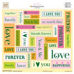 Fiskars - Heidi Grace Designs - Jumbo 12x12 Stickers - Embossed Words - Heidi's Flowers Collection, CLEARANCE