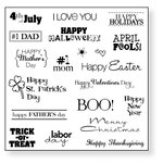 Fiskars - Simple Stick - Repositionable Rubber Stamps - Holiday Hooplah