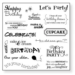 Fiskars - Simple Stick - Repositionable Rubber Stamps - Birthday Cheer