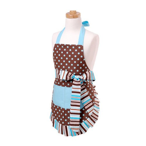 Flirty Aprons - Original Style Collection - Designer Aprons - Girl's - Blue Chocolate