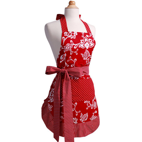 Flirty Aprons - Scalloped Style Collection - Designer Aprons - Women's - Scalloped Sassy Red