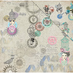 FabScraps - Dream Steam Collection - 12 x 12 Double Sided Paper - Fly Girl