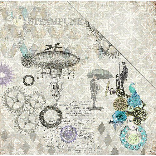 FabScraps - Dream Steam Collection - 12 x 12 Double Sided Paper - Flying Machines