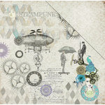 FabScraps - Dream Steam Collection - 12 x 12 Double Sided Paper - Mechanical