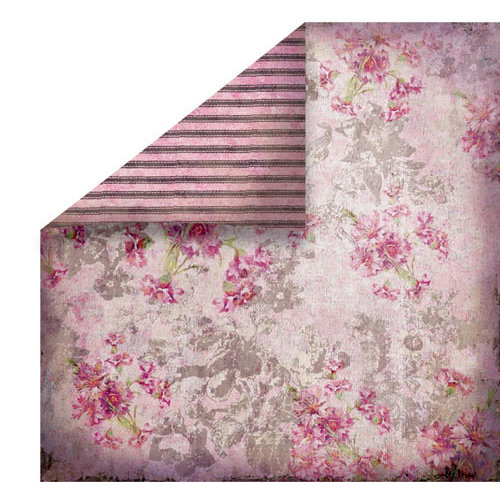 FabScraps - Heritage Collection - 12 x 12 Double Sided Paper - Pink Floral
