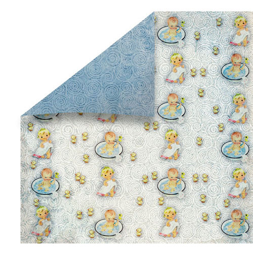 FabScraps - Vintage Baby Collection - 12 x 12 Double Sided Paper - Bath Time