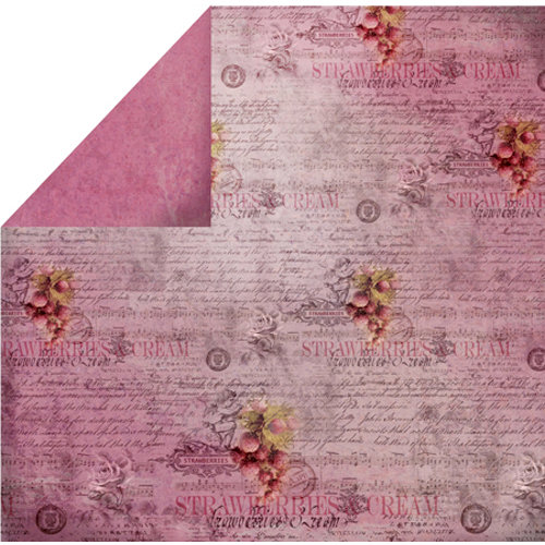 FabScraps - Organic Collection - 12 x 12 Double Sided Paper - Strawberries