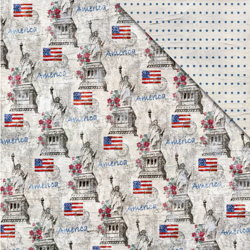 FabScraps - Love 2 Travel Collection - 12 x 12 Double Sided Paper - America