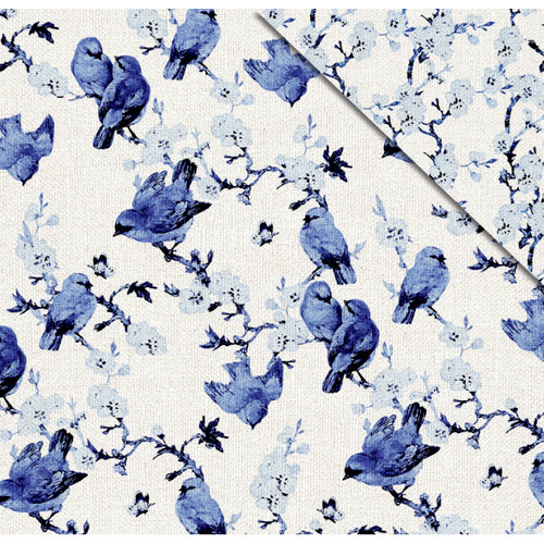 FabScraps - Floral Delight Collection - 12 x 12 Double Sided Paper - Blue Birds