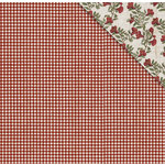 FabScraps - Country Kitchen Collection - 12 x 12 Double Sided Paper - Pomegranate check