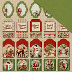 FabScraps - Christmas Memories Collection - 12 x 12 Double Sided Paper - Christmas Tags
