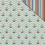 FabScraps - Beach Bliss Collection - 12 x 12 Double Sided Paper - Sailing Boats