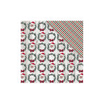FabScraps - Christmas Snow Collection - 12 x 12 Double Sided Paper - Santa's Wreath