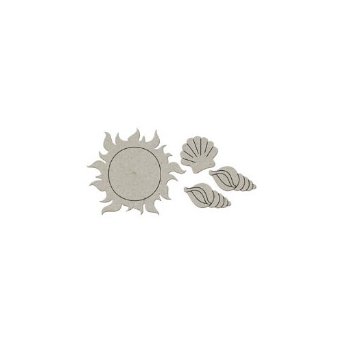 FabScraps - Summer Collection - Die Cut Embellishments - Sun and Shells