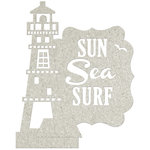 FabScraps - Beach Affair Collection - Die Cut Wall Decor - Sun, Sea, Surf and Lighthouse