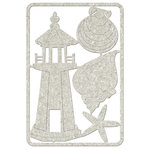 FabScraps - Beach Affair Collection - Die Cut Embellishments - Lighthouse and Shells