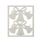 FabScraps - Christmas Snow Collection - Die Cut Chipboard - Bells and Ribbon