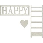 FabScraps - Lavender Breeze Collection - Die Cut Words - Happy