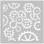 FabScraps - 8 x 8 Plastic Stencil - Cogs and Wheels