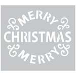 FabScraps - 6 x 6 Plastic Stencil - Merry Christmas